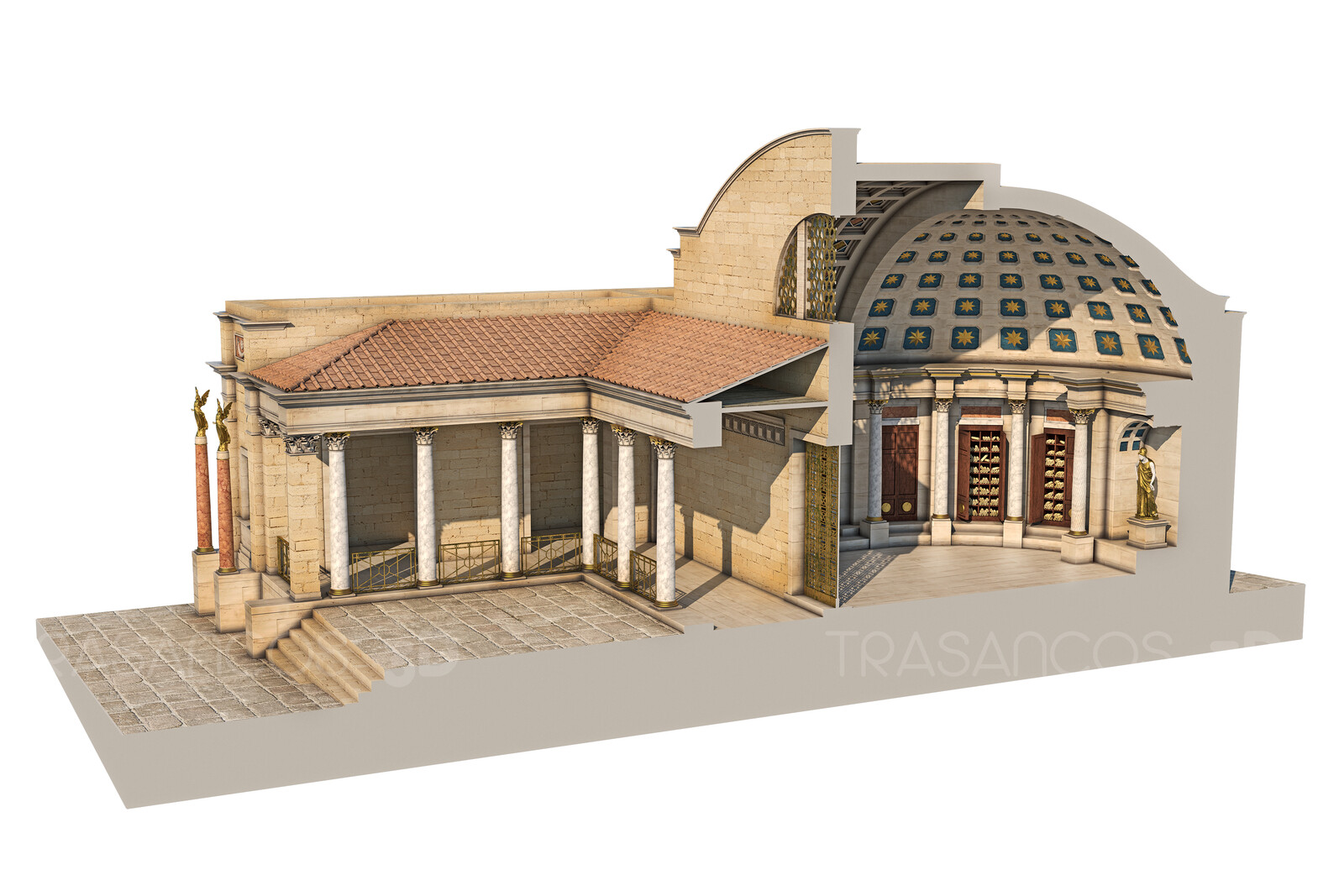 Cut away of the Public Library of Timgad. Modeled in collaboration with: - Diego Blanco