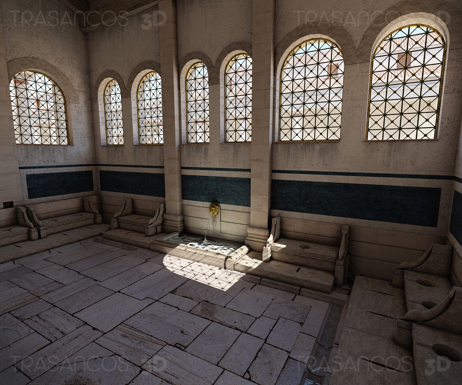 Interior of the reconstruction of one of the public letrines of Timgad. Modeled in collaboration with: - Alejandro Soriano