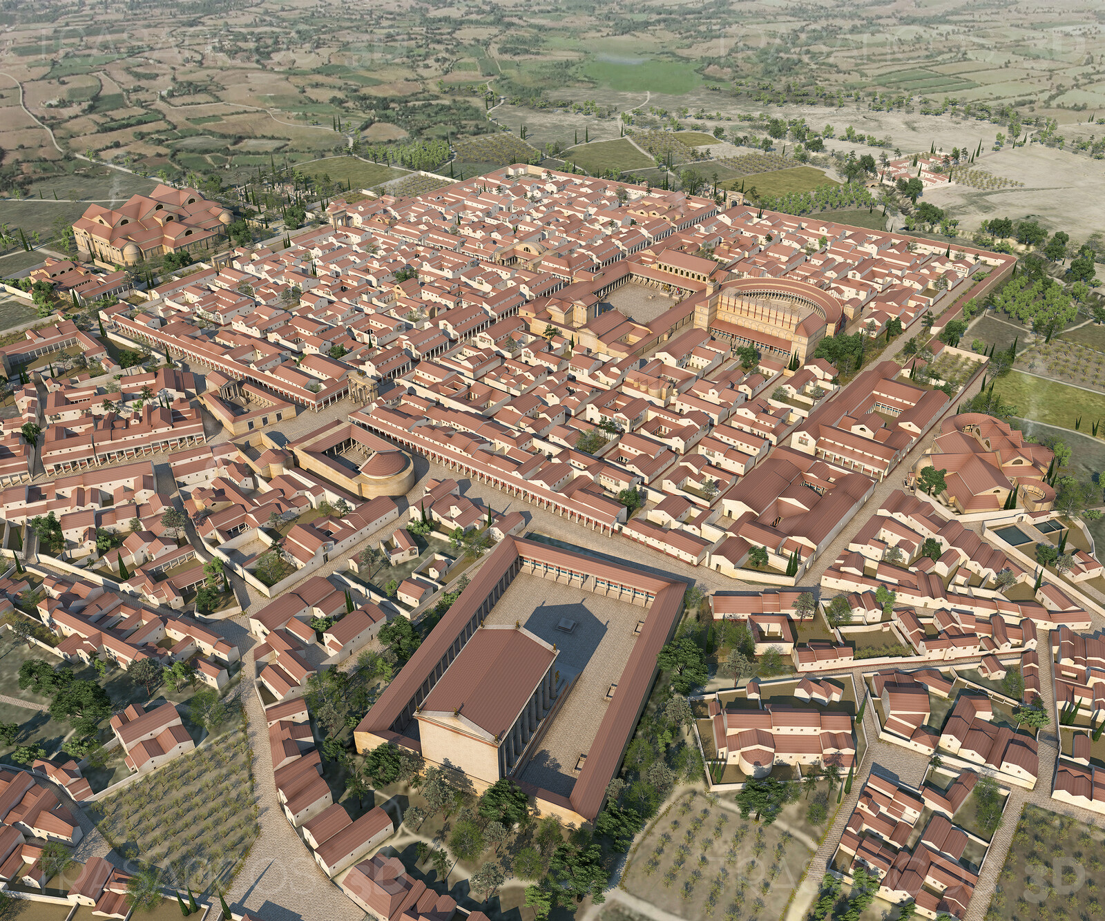 General view of the reconstructed roman city of Timgad. Modeled in collaboration with: - Andrés Armesto - Alejandro Soriano - Carlos Paz - Diego Blanco