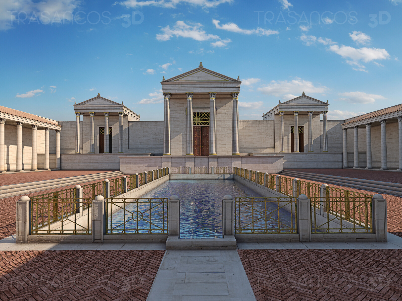Reconstruction of the Aqua Septimiana Felix, with the temples and the sacred spring pond. This is the very first reconstruction ever made of this roman archeological site.
