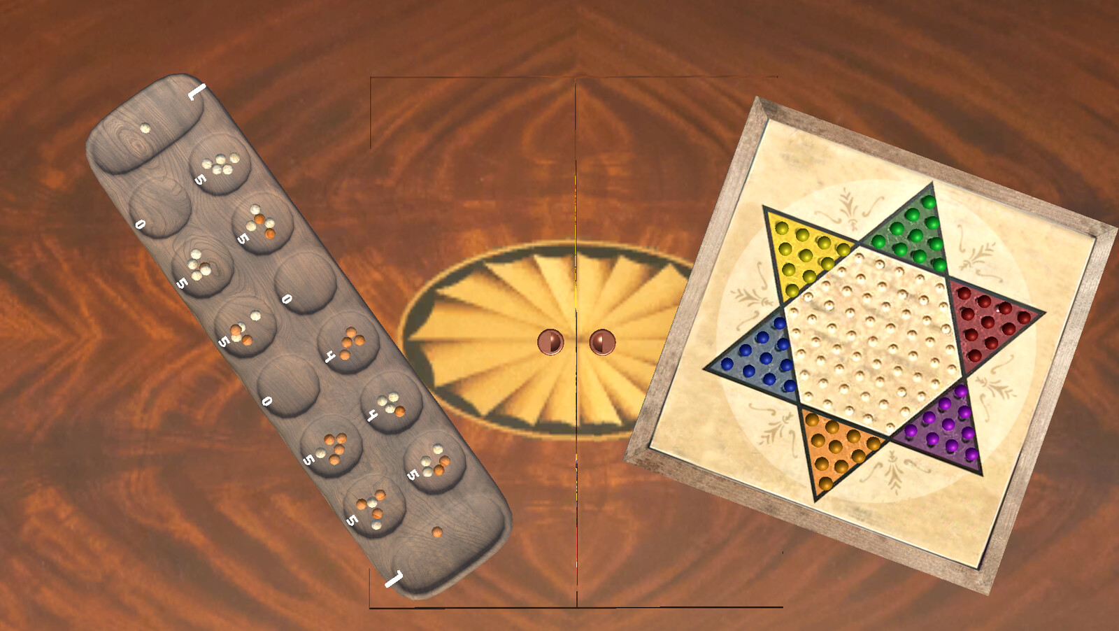 This is a game table where the visitor has the chance to play Mancala or Chinese Checkers with another player. If they happen to tap on the secret doors they'll also get instructions to other games in the room.