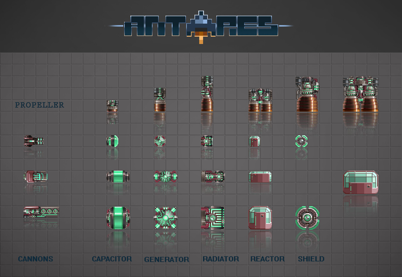 différents blocs de vaisseaux DA cyberpunk