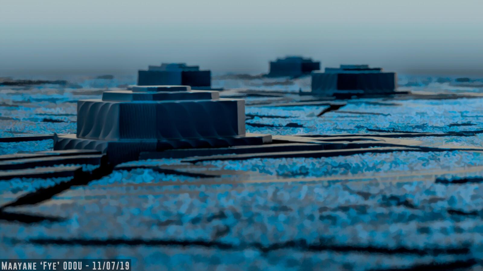 Square Sci-fi city