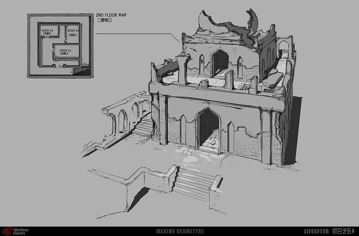 Life After - Desert - Ruin - general sketch (2018)