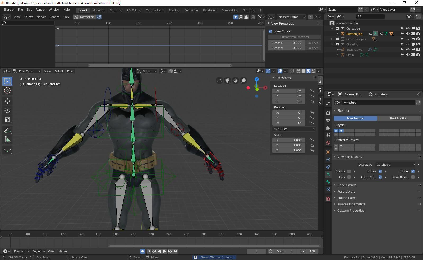 ArtStation - Batman character animation, Both hand done and