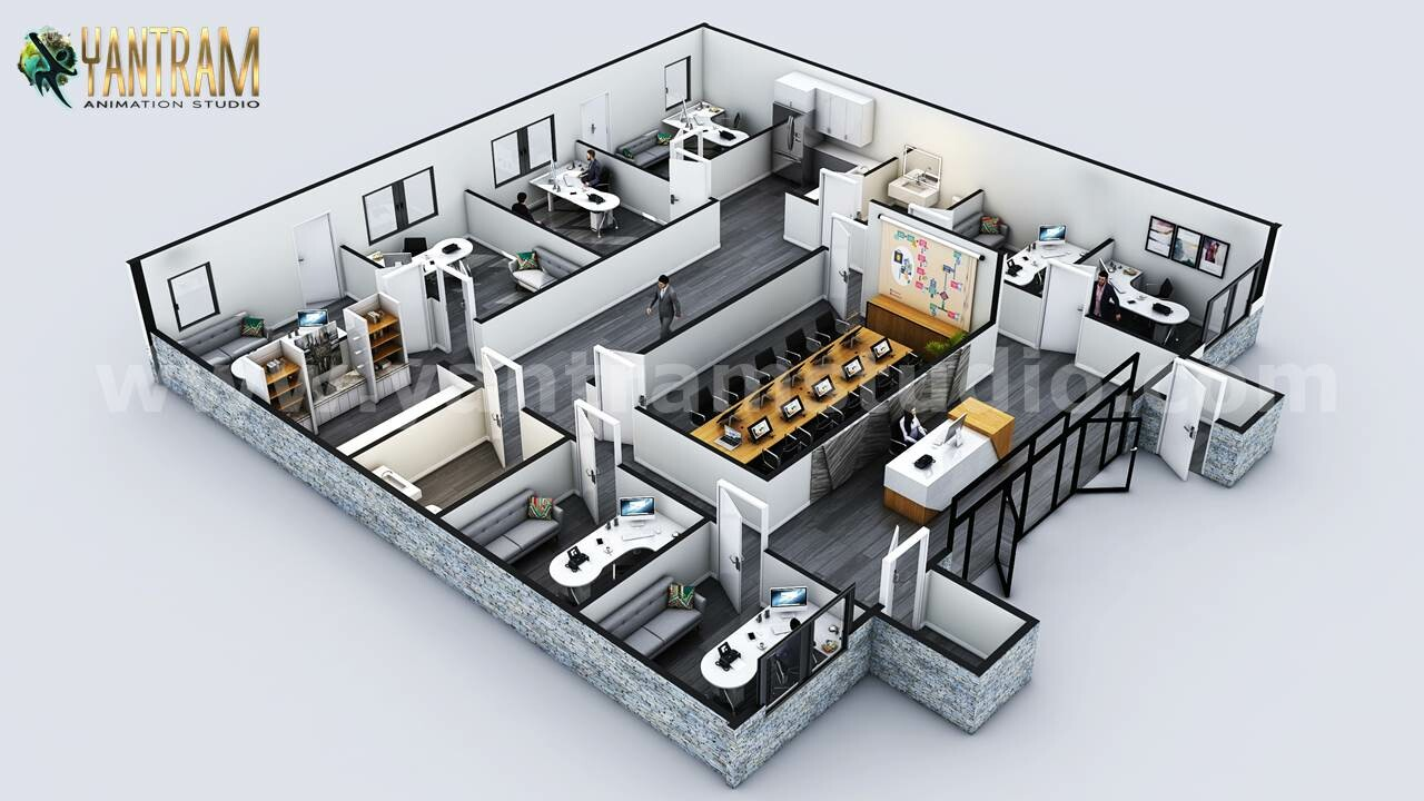 Artstation Commercial 3d Floor Plan Designer With Classic Interior By Architectural Studio Vancouver Canada Yantram Architectural Design Studio
