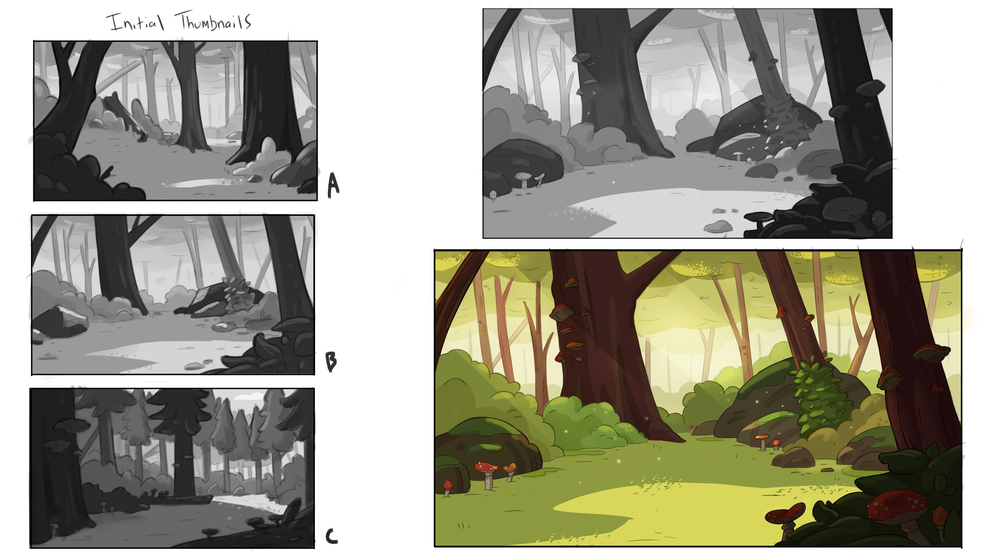 Thumbnails, Tonal sketch, Final