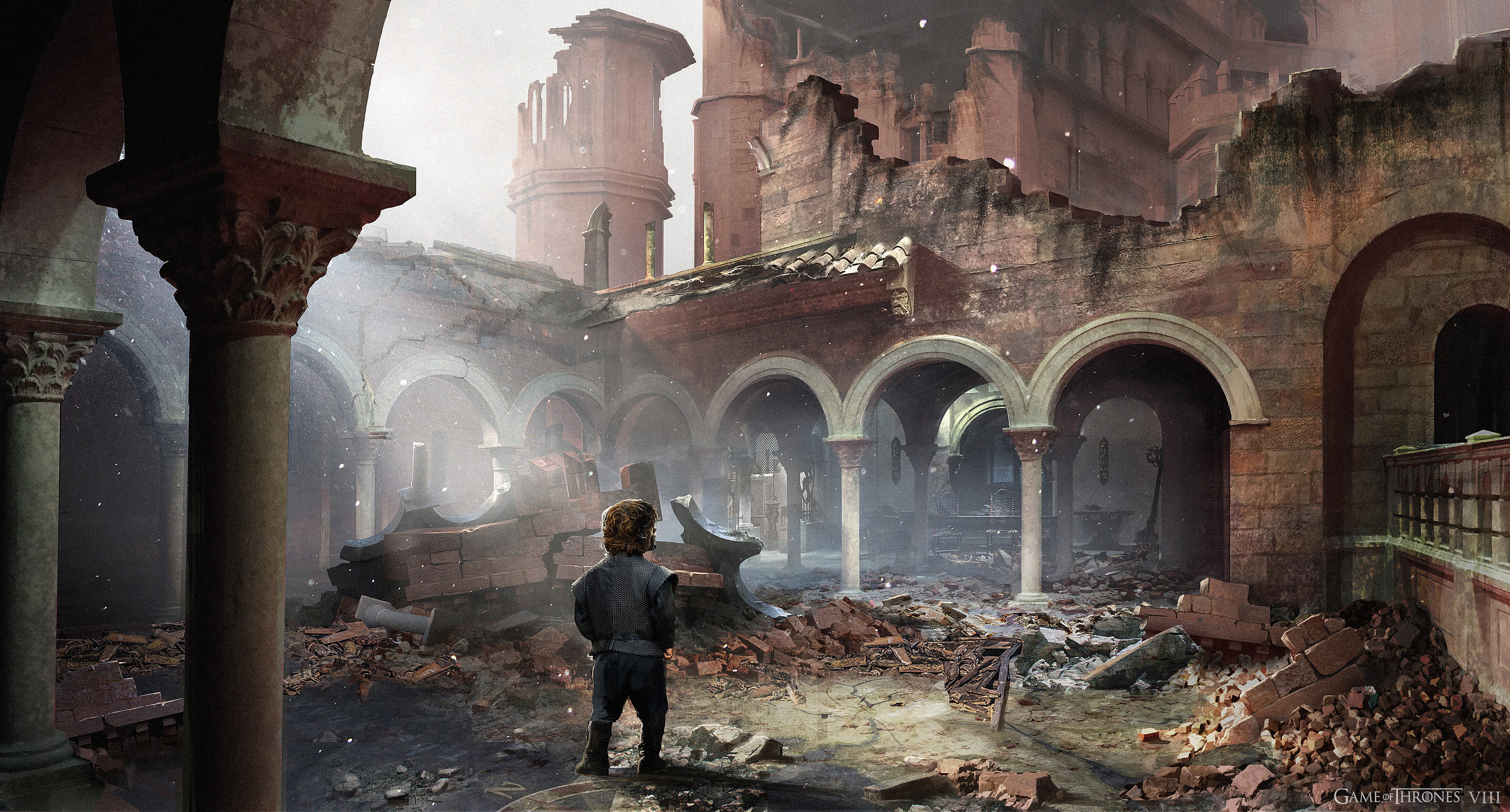 Tyrion on his search for his siblings walks over the ruined map