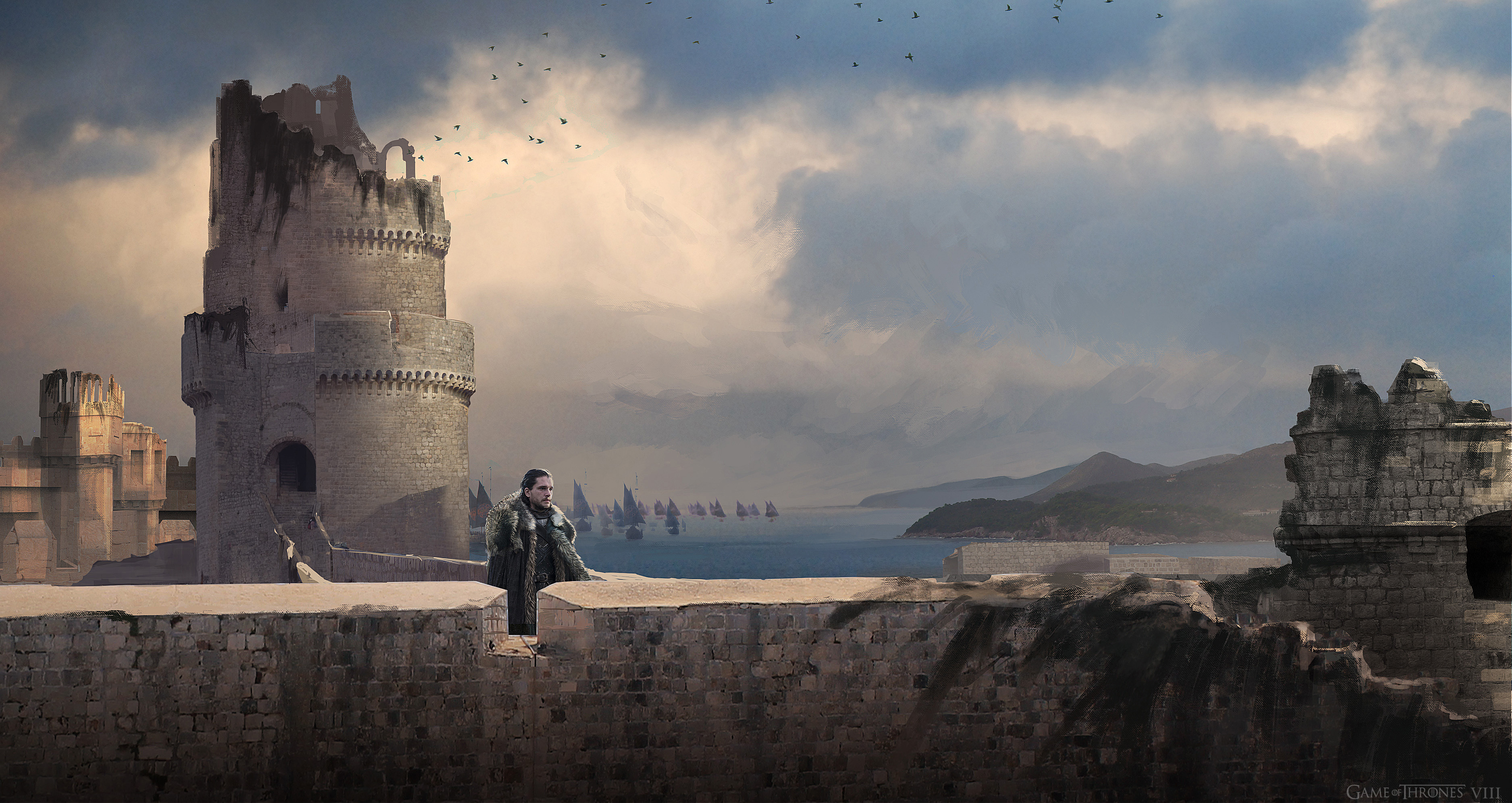 Jon is released towards the end of the episode and looks out across the docks at Kingslanding