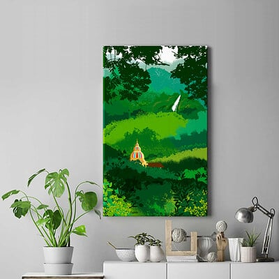 Rajesh r sawant frameless canvas poste temple in forest