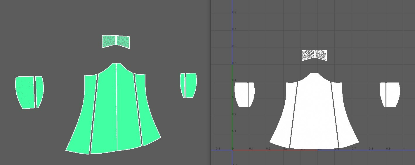 From Marvelous you can export a flattened version of this mesh that resembles and has the same UVs as the original mesh.