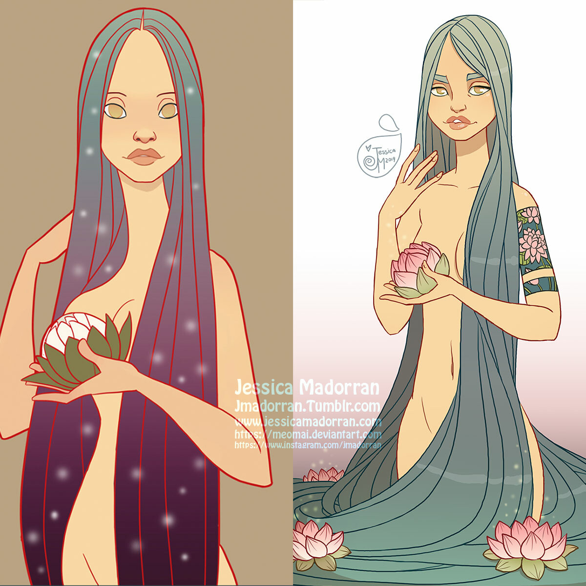 Jessica madorran character design redesign lotus pond 2019 square comparison version artstation