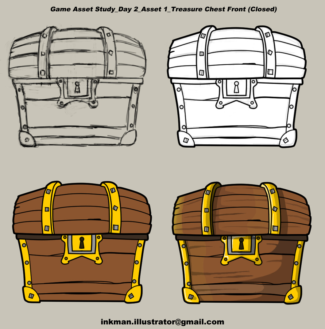 Game art study-Day 1 : Treasure Chest Closed (Front)