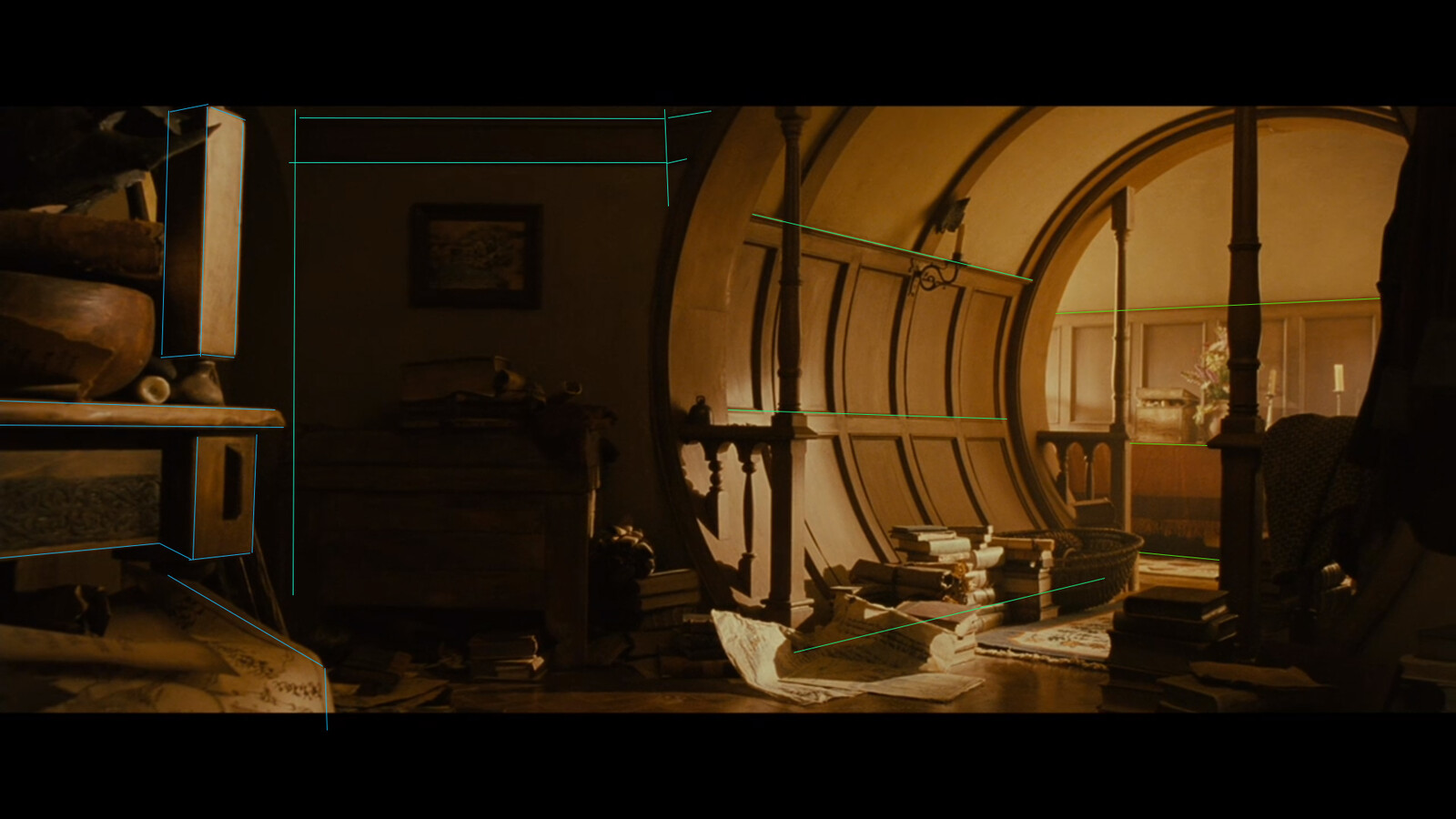 In order to make sure the scene was built to proper perspective, I made some brief perspective drawings and placed this image into the camera to line up the scene accurately.