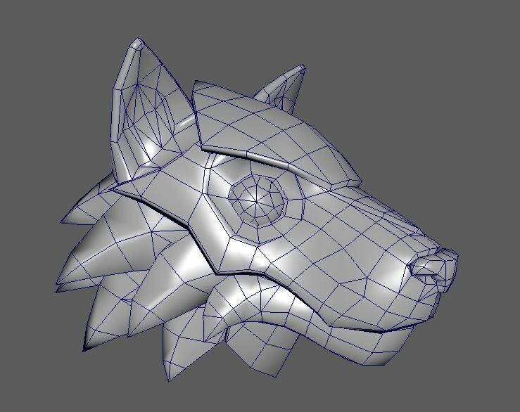 Wolf Armor Helm wireframe