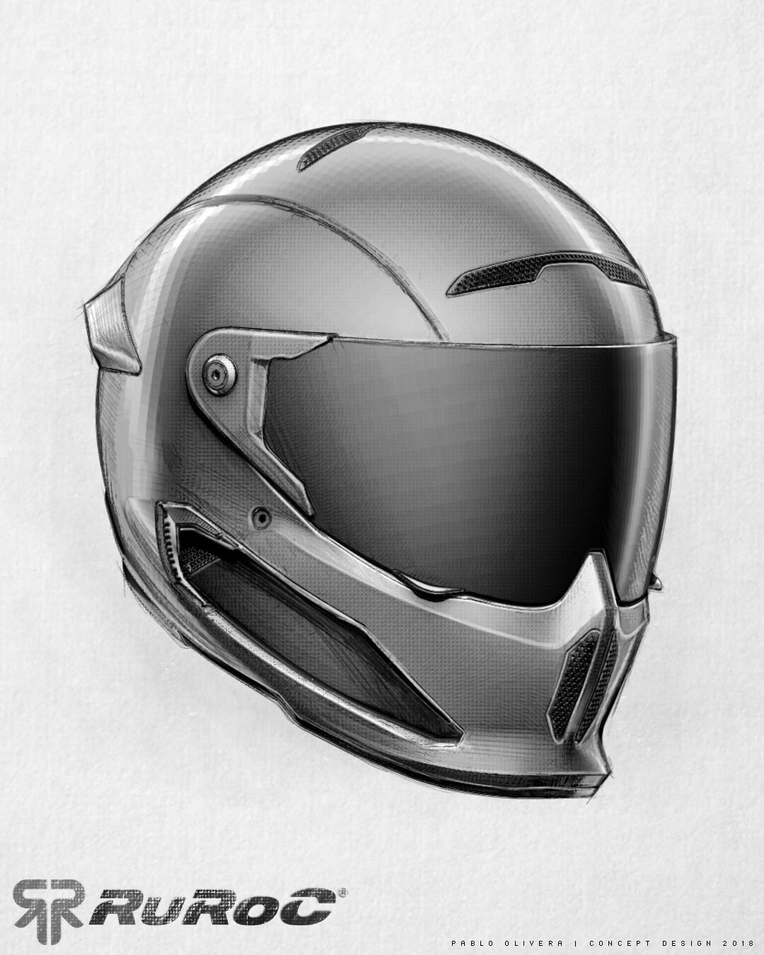 Pablo olivera helmet ruroc limited edition drawing sketch atlas