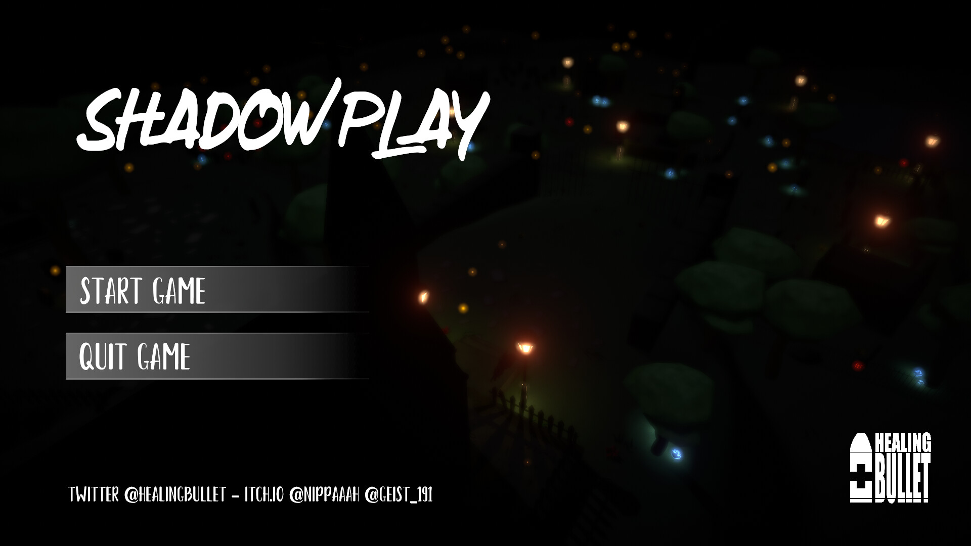 Main menu, the background is a camera in the level!
