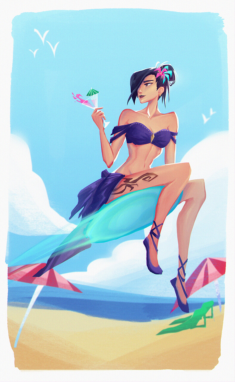 Fun summer sketch of Kae in a beach outift!