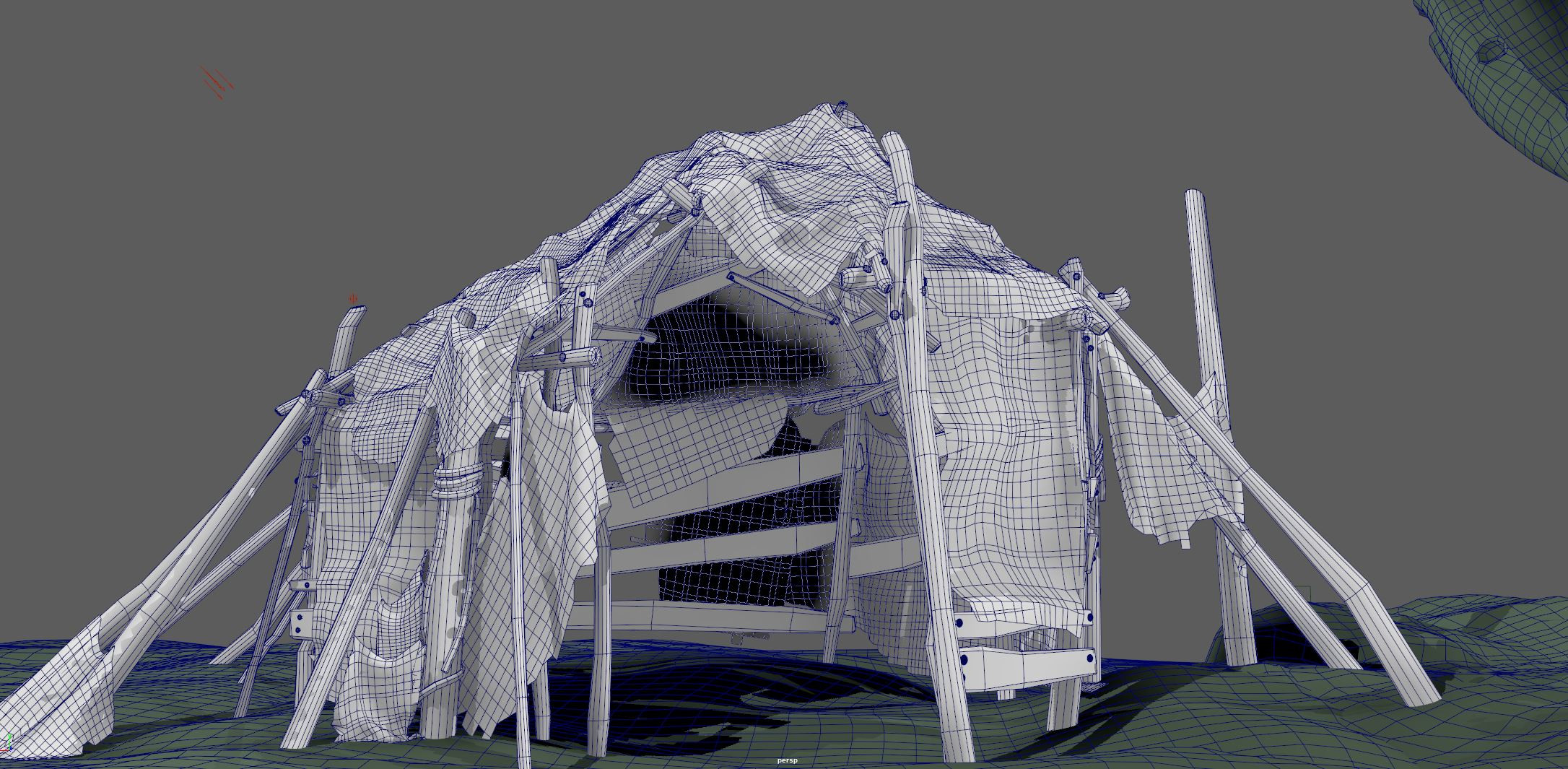 The Hut - Wire frame| It is a hero asset so it is dense in poly count. The overall scene was small, so I didn't care about trying to reduce the polys where it is not needed. But, if optimizing the performance was an issue, I would do a poly reduction pass