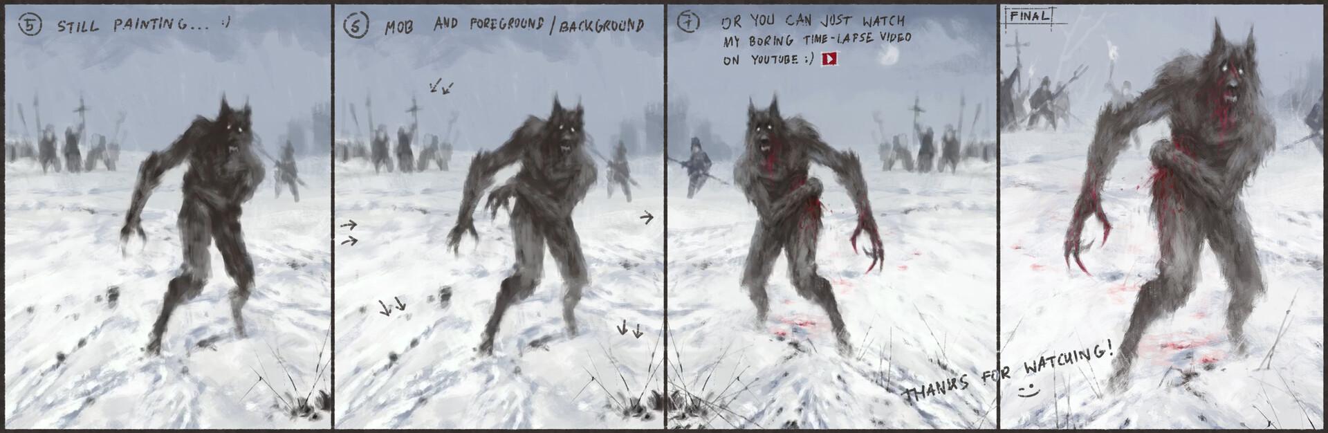 Jakub rozalski wounded wolf process01
