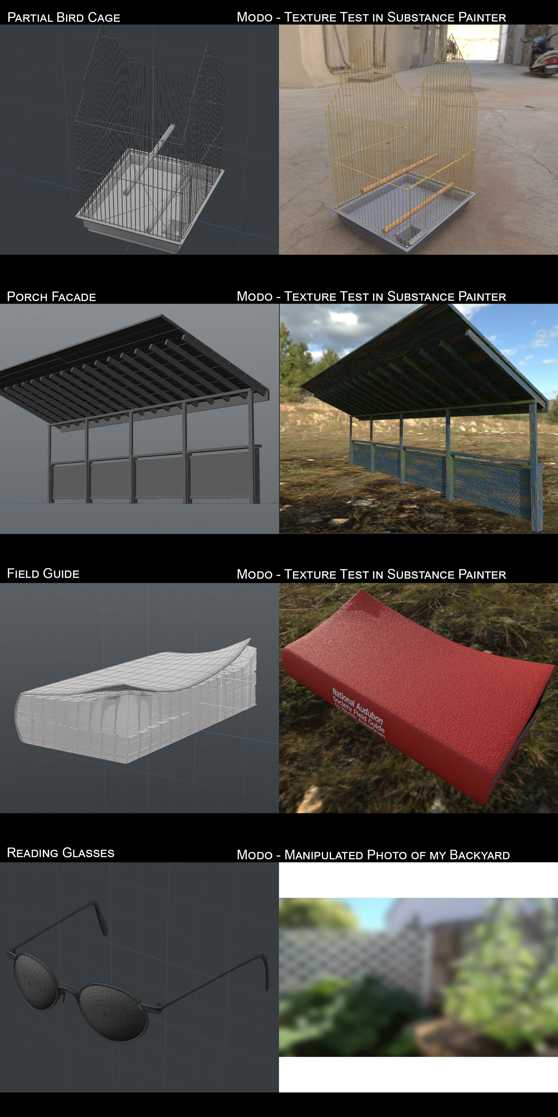 Individual views of the items modeled specifically for this image.