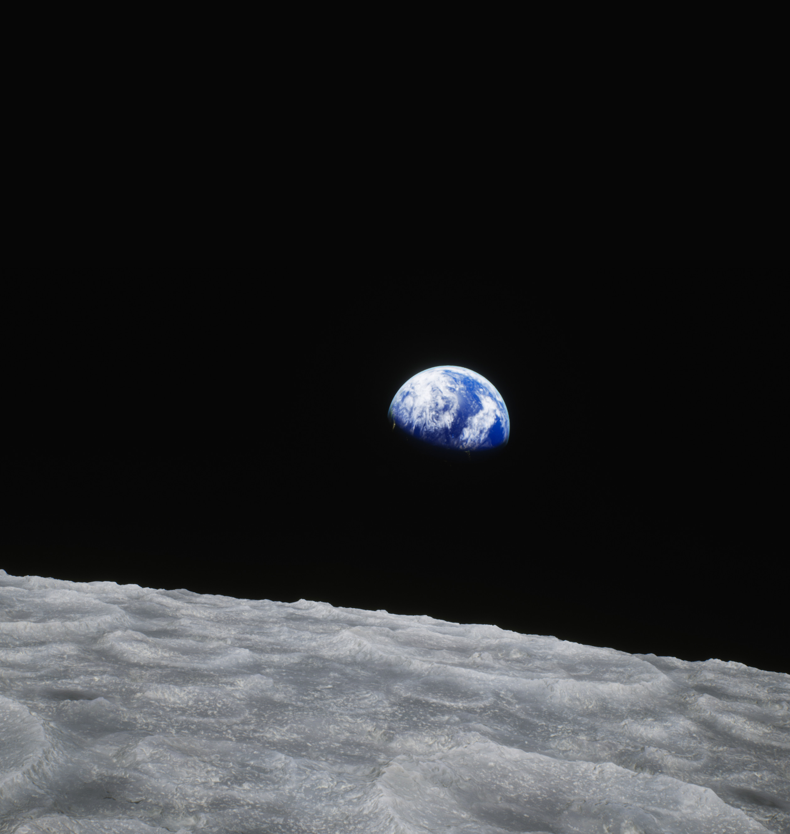 """""""Earthrise,"""" original photo taken by astronaut William Anders on the Apollo 8 mission. Original photo - https://images.nasa.gov/details-as08-14-2383.html"""