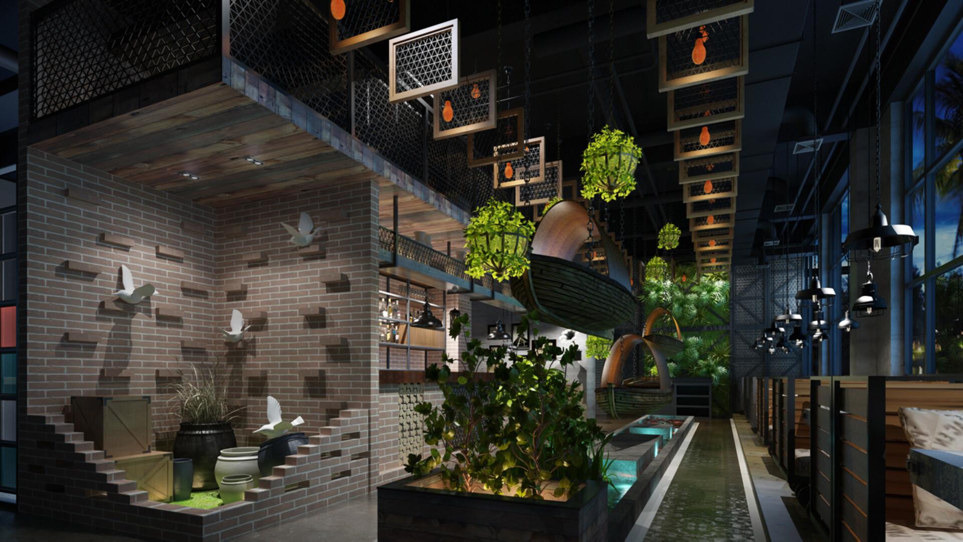Artstation Industrial Themed Cafe Restaurant Interior Mazin Nasra