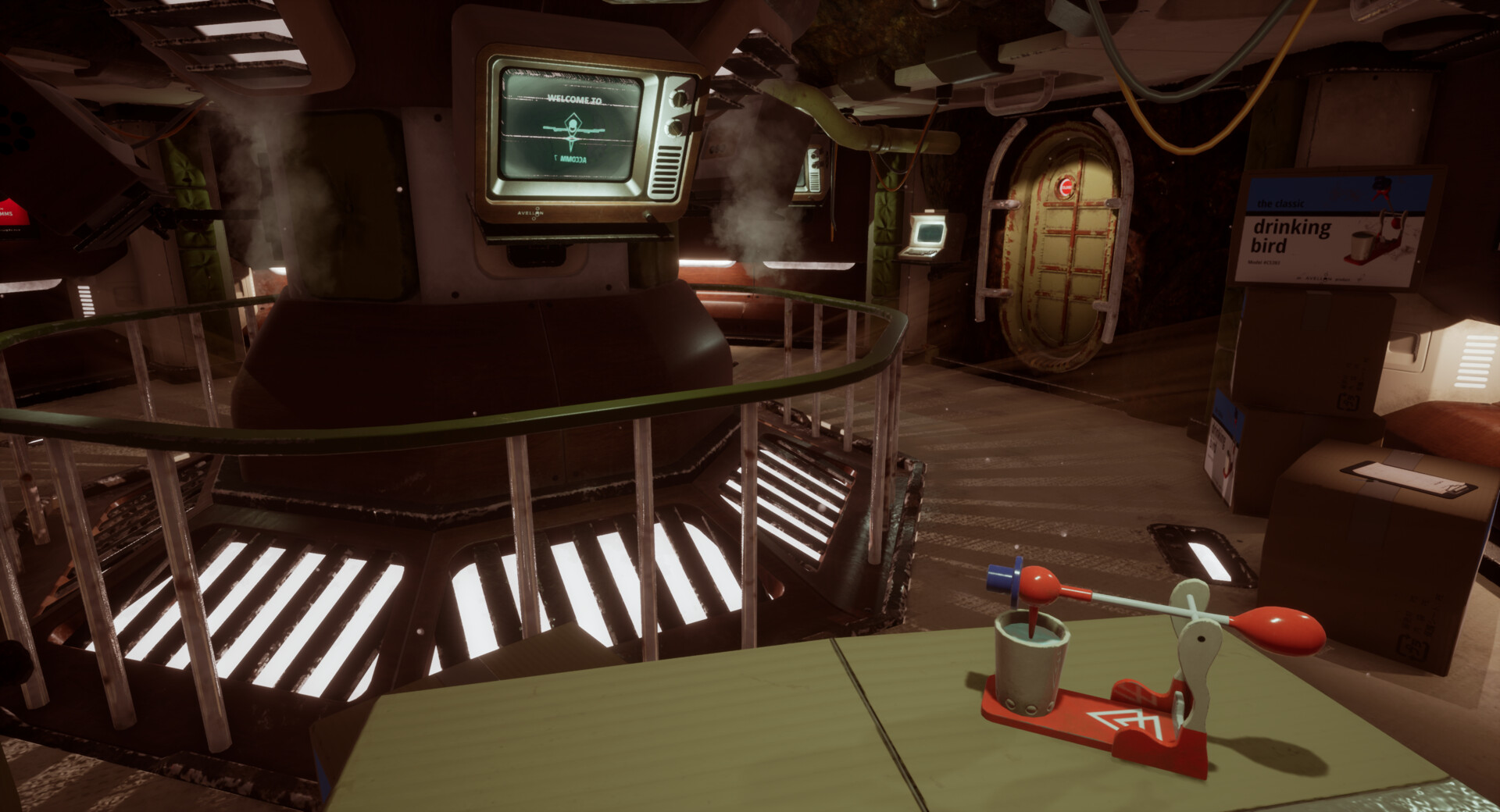 Primarily functioning as an in-game tutorial and primer to the soon-to-be home of the player. Multiple objects are interactable and the player can not leave the room before figuring out the interaction system.