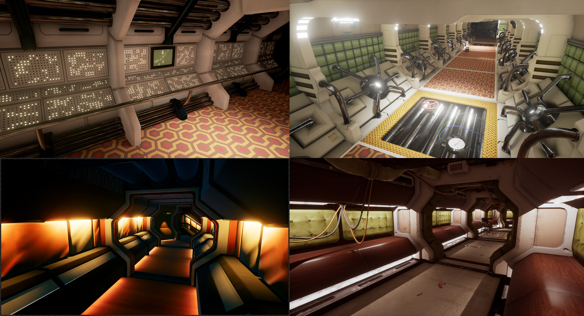 """Earlier iterations of the corridor. Experiemented heavily with different kind of asset sets and """"building options""""."""