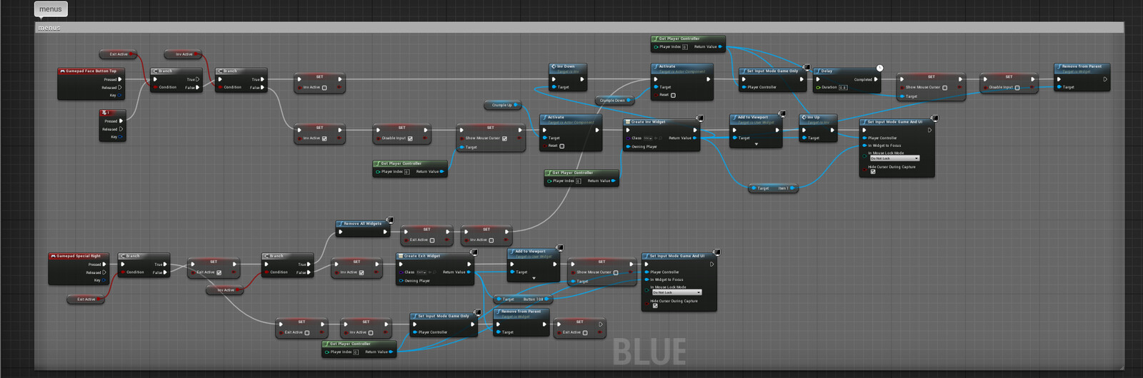 Part of the 2Dsidecroller Character Inventory blueprint. Sets widget focus with gamepad and character state when menus are opened.
