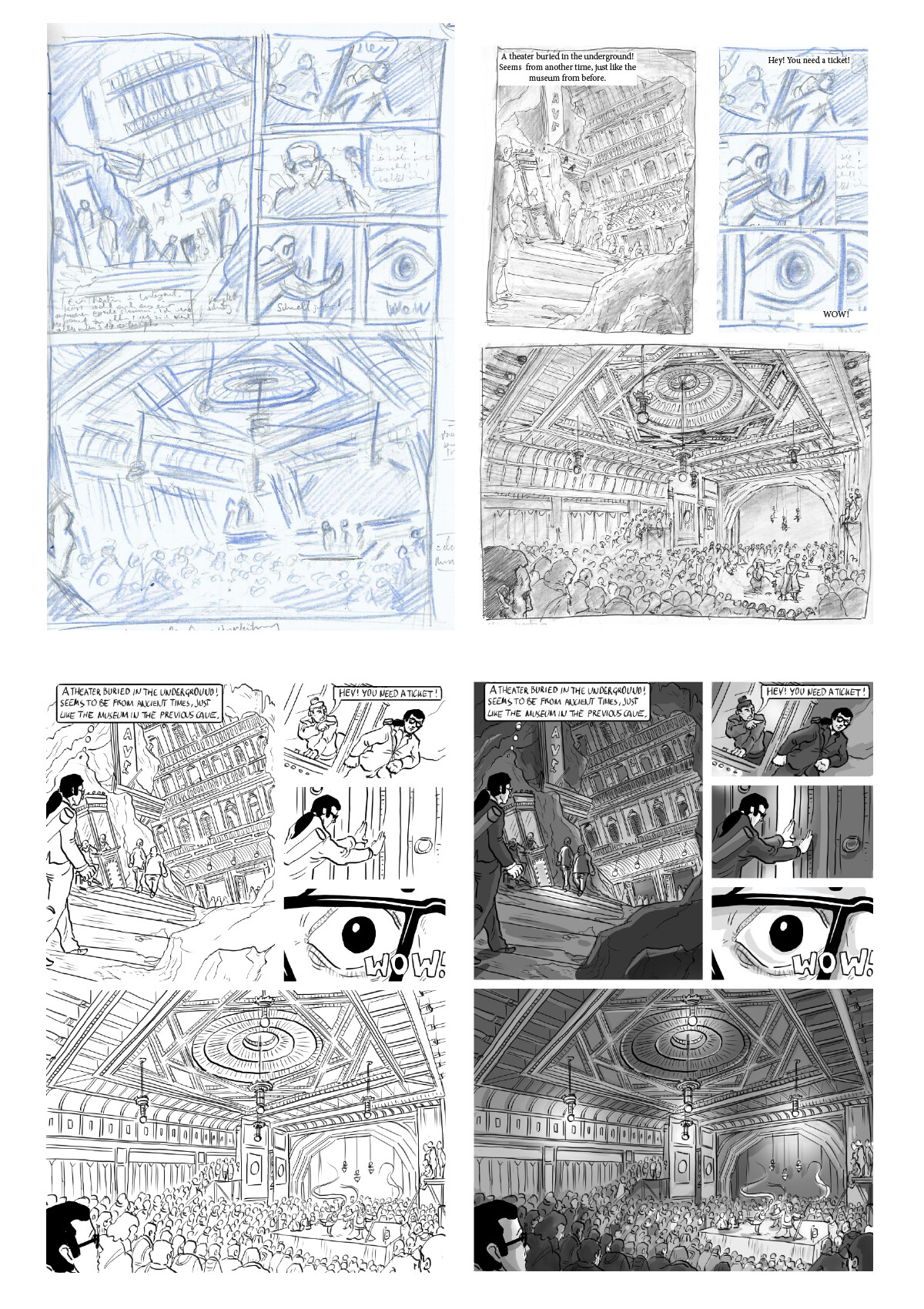 Process from rough pencil storyboard to inked and bw coloured page