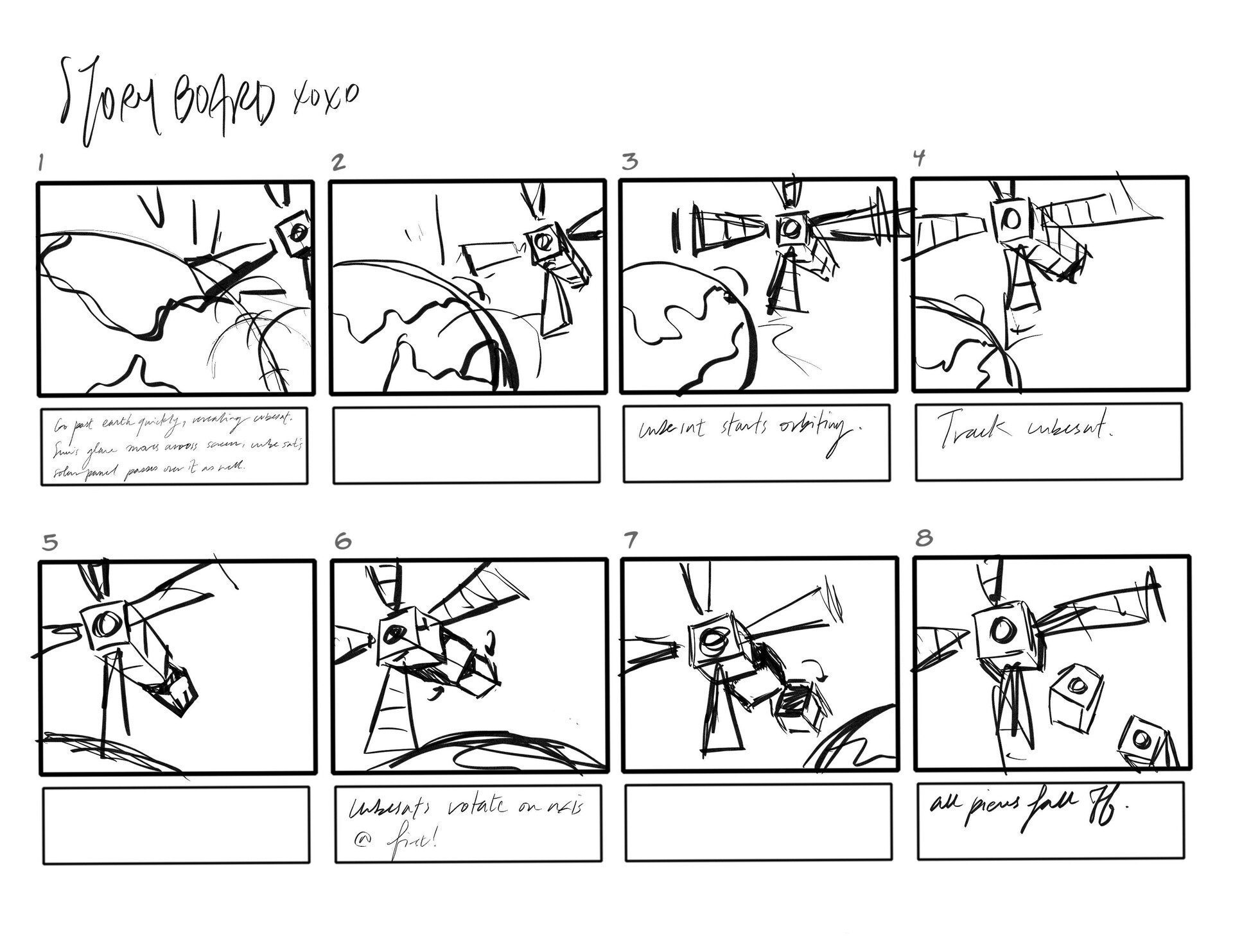 The storyboard I was given to animate with. (1/3)