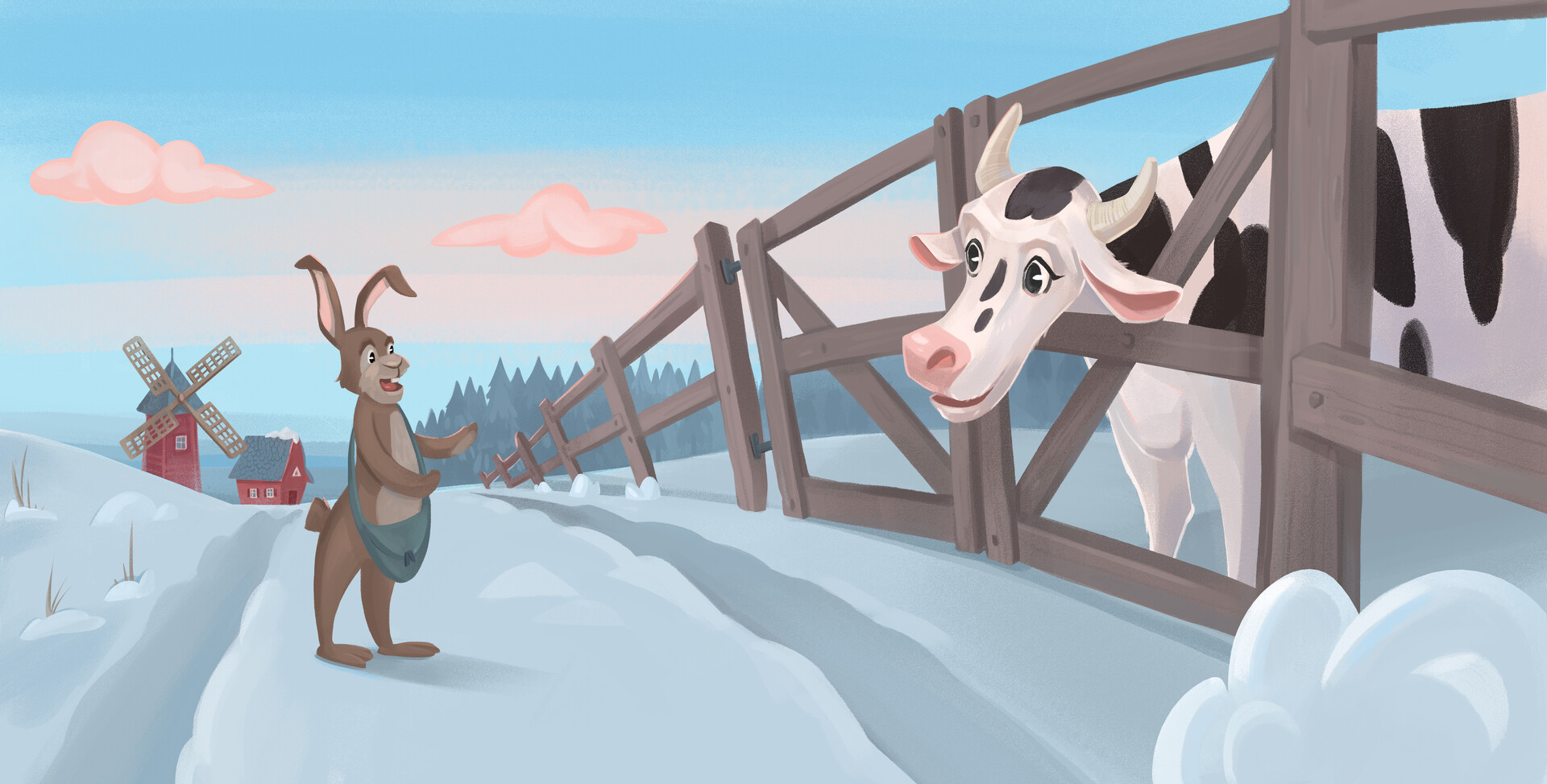 Clyde stopped and asked  the cow if she could help him find some food.