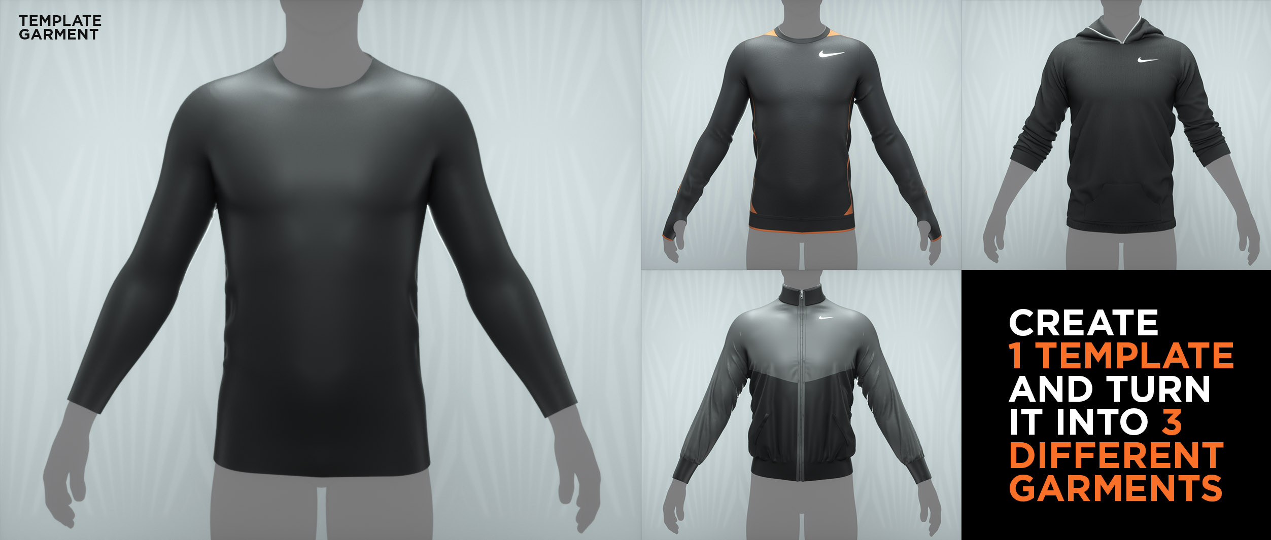 Create a template garment and then turn it into 3 different garments. Building a good foundation and solid base is important and helps with converting the template into different garments easily.