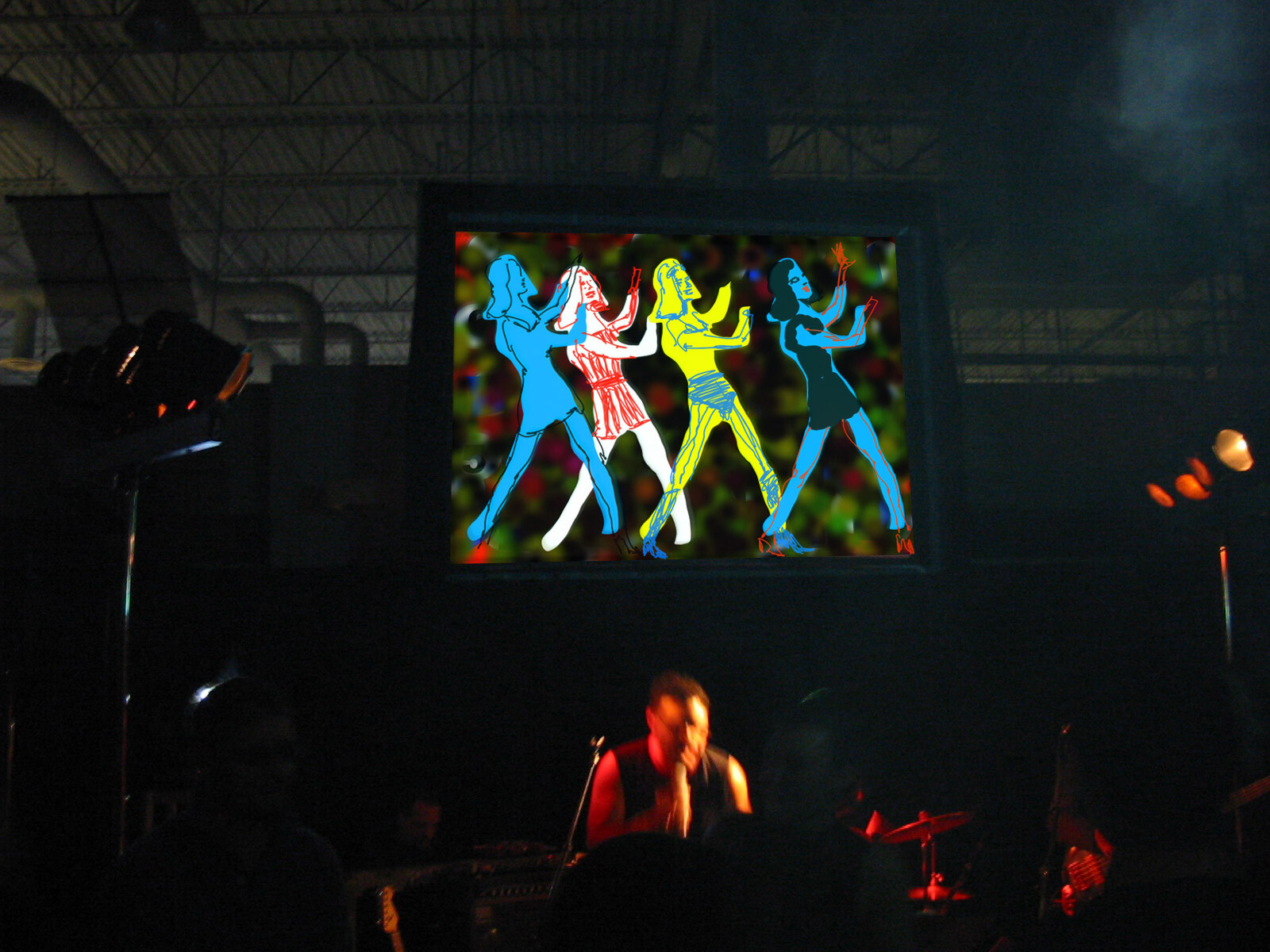 our multi media show for Bell World. I draw live using computers, 2002.