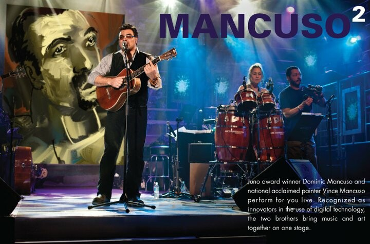Juno award winner Dominic Mancuso and nationally acclaimed painter Vince Mancuso performing on the T.V show Belle et Bum in downtown Montreal.
