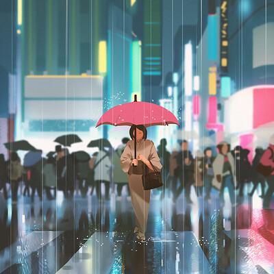 Atey ghailan neon rain
