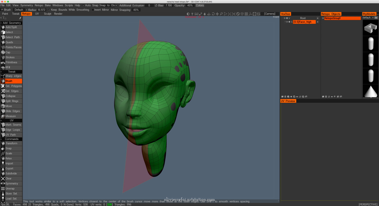Topology and UVs created manually in 3DCoat