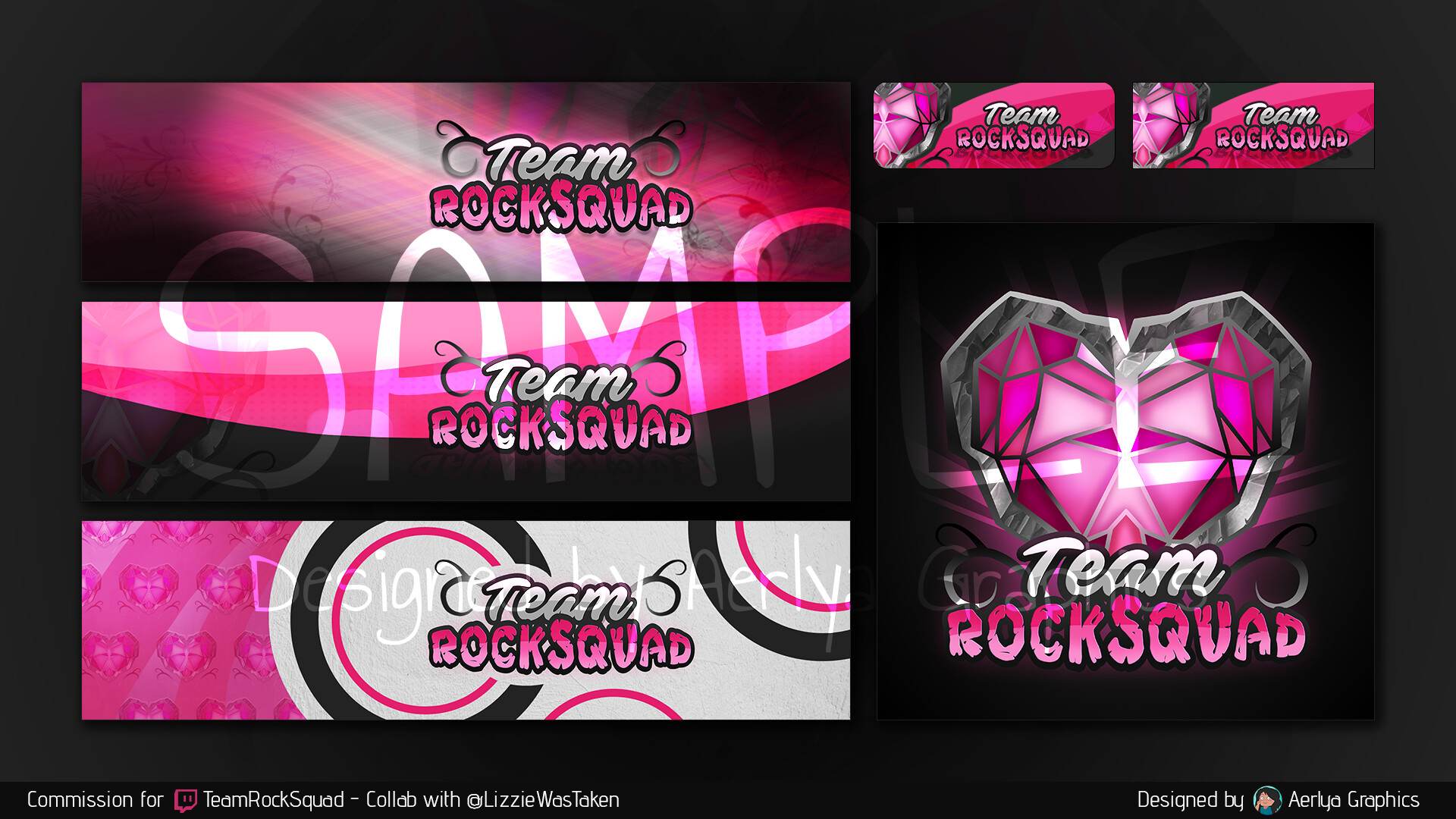 Here is the new look of my Twitch team, Team RockSquad ! I've collabed with another team artist on the logo and came up with the panels and headers ! This was a bunch of fun to work on C: