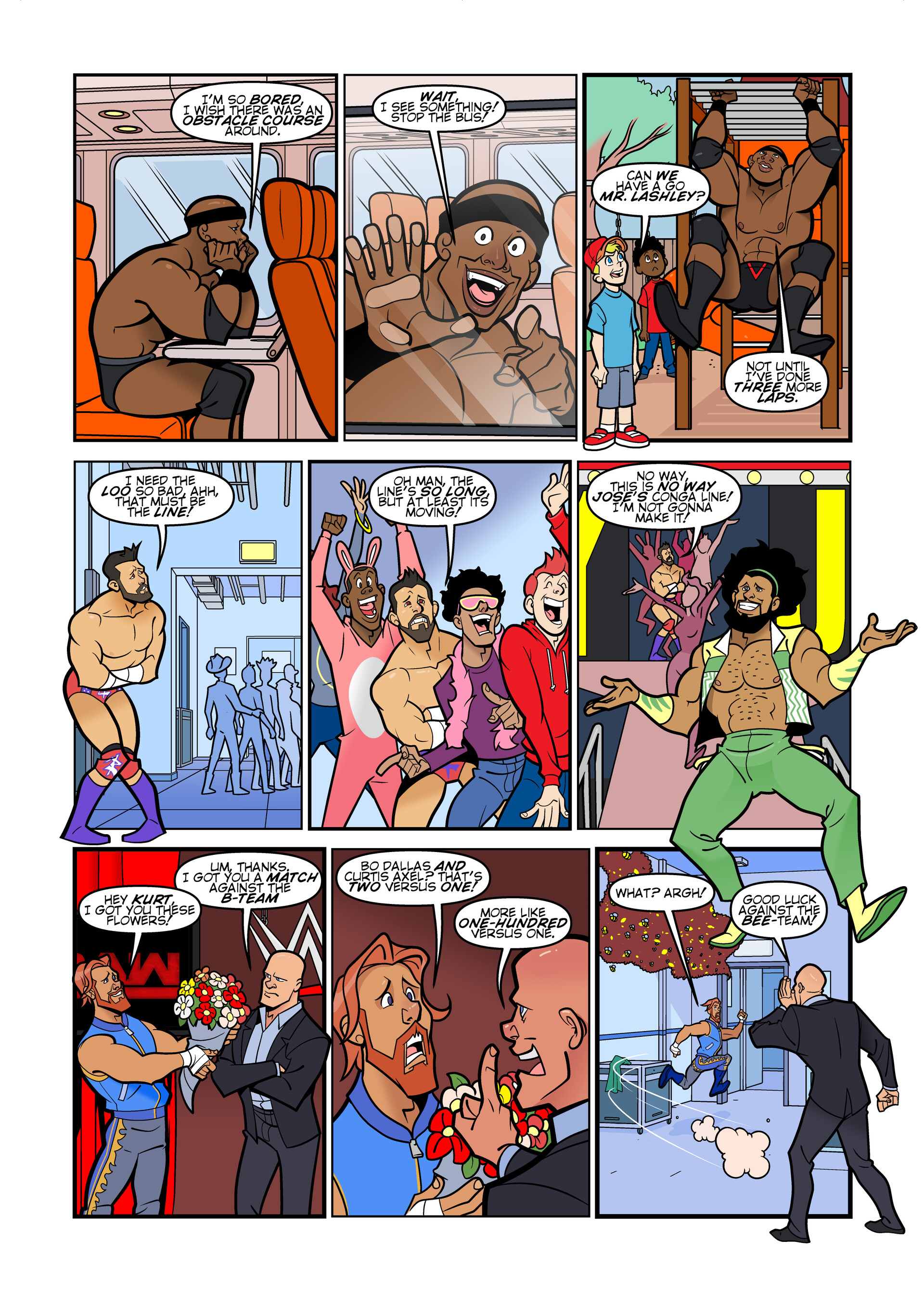 WWE comic strips for WWE Kids Magazine #142