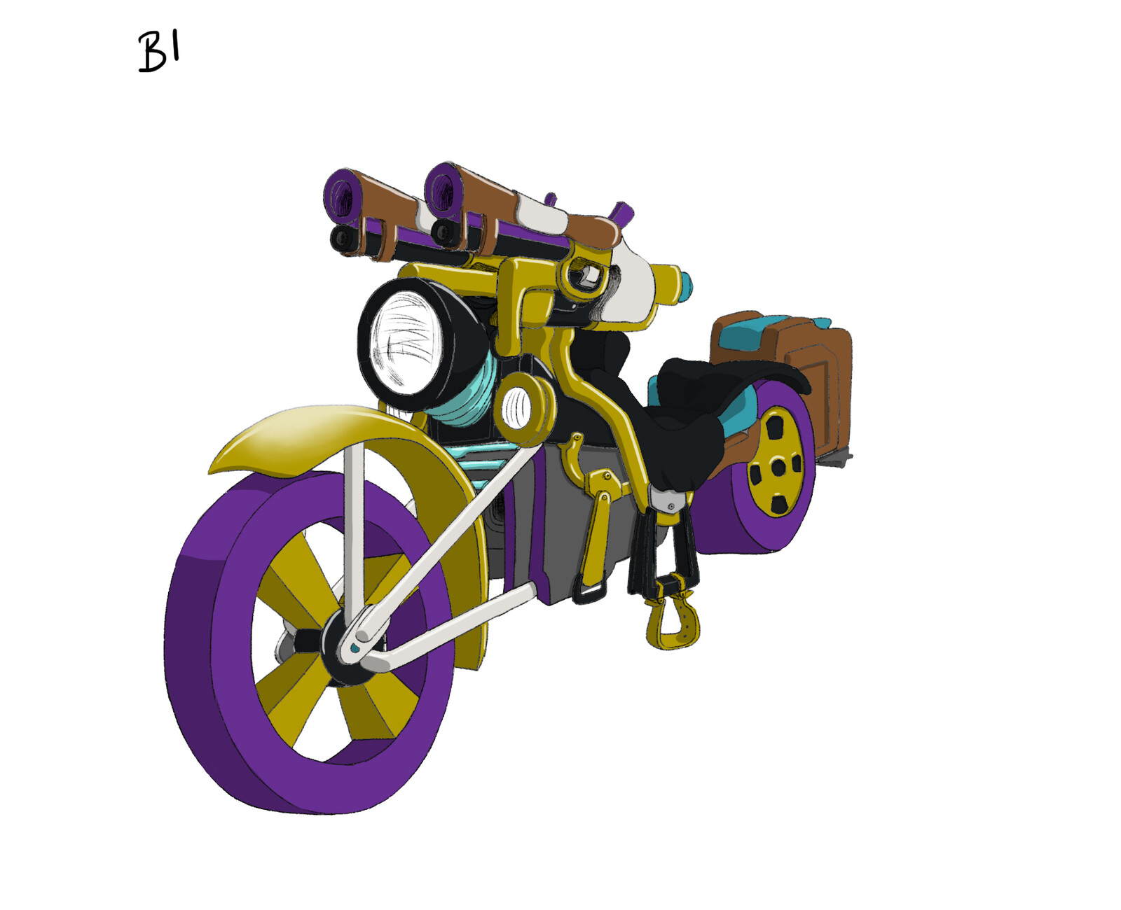 [Restless] project - Martn motorbike, sketches and colour keys