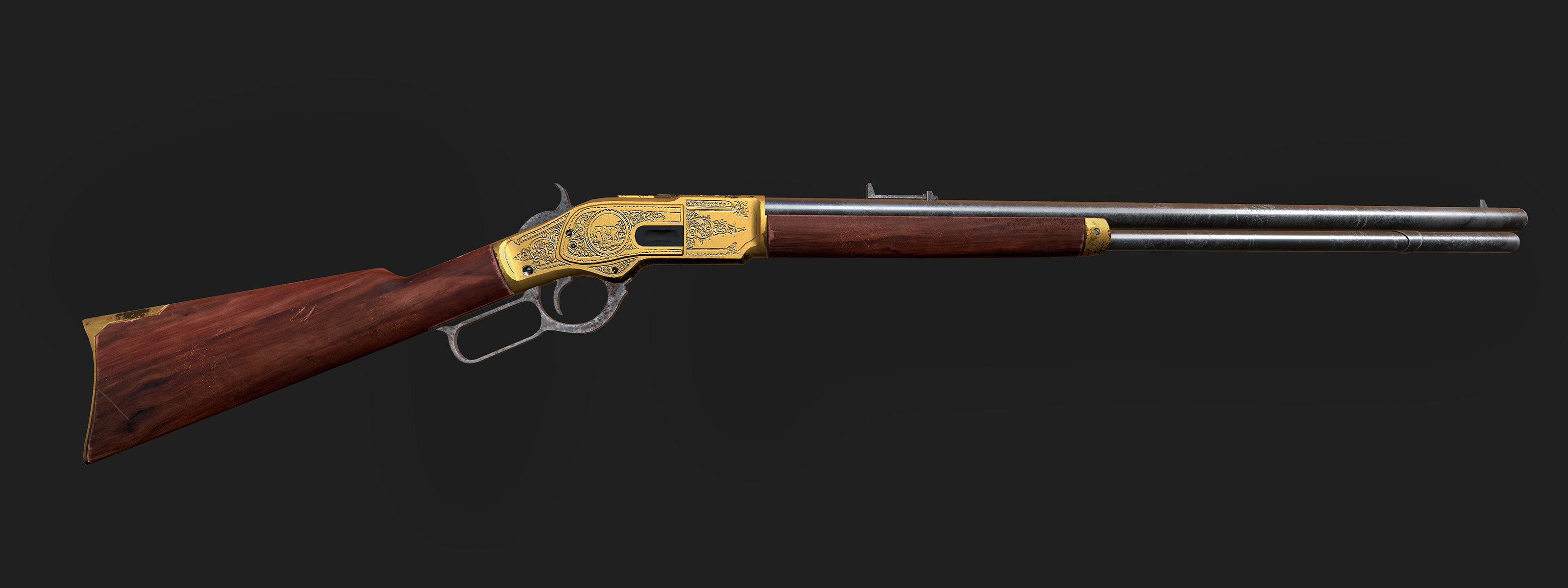 A closeup render of the rifle. That I've modeled and rendered