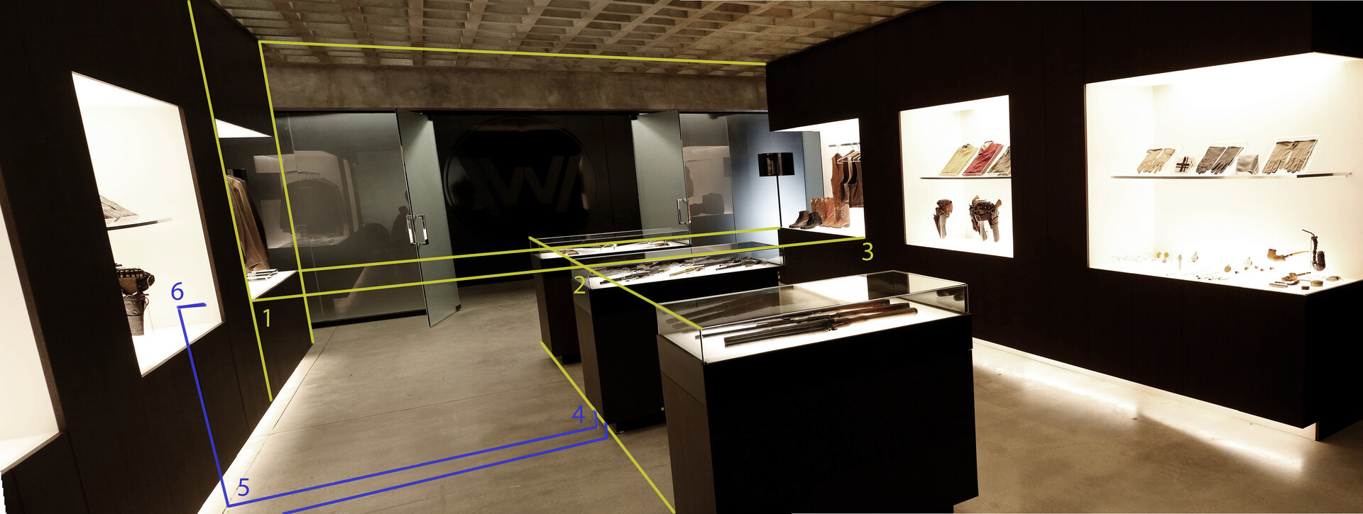 Construction line showing my process extracting the show's room dimensions
