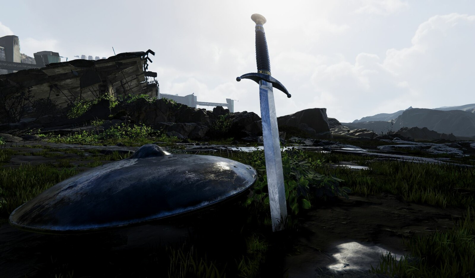 I modeled and texture this sword and shield. The environment is the Adam environment from Adam. I just used it to stage the piece is and light them.