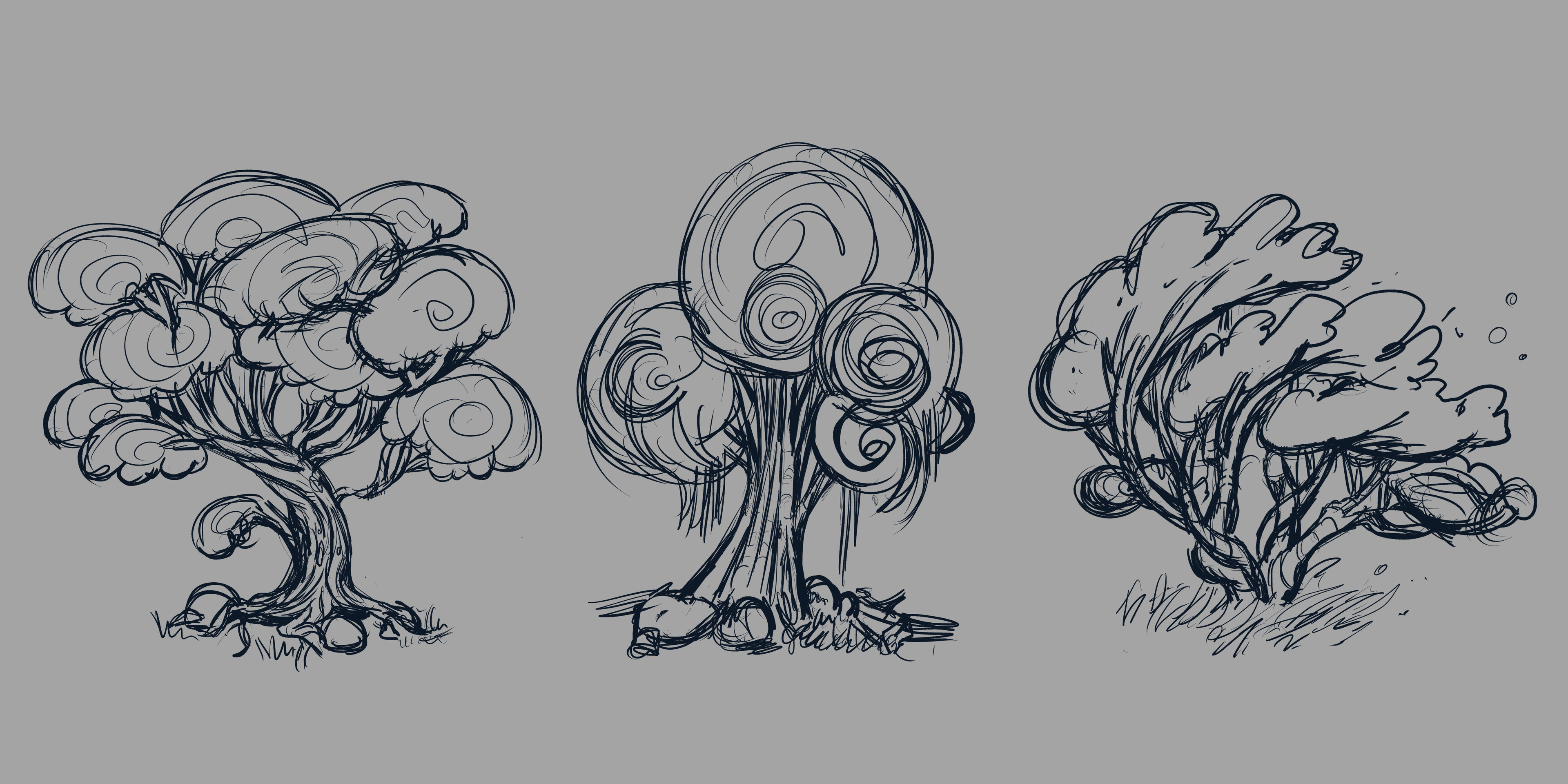 More detailed sketch for trees number 5, 11 and 16