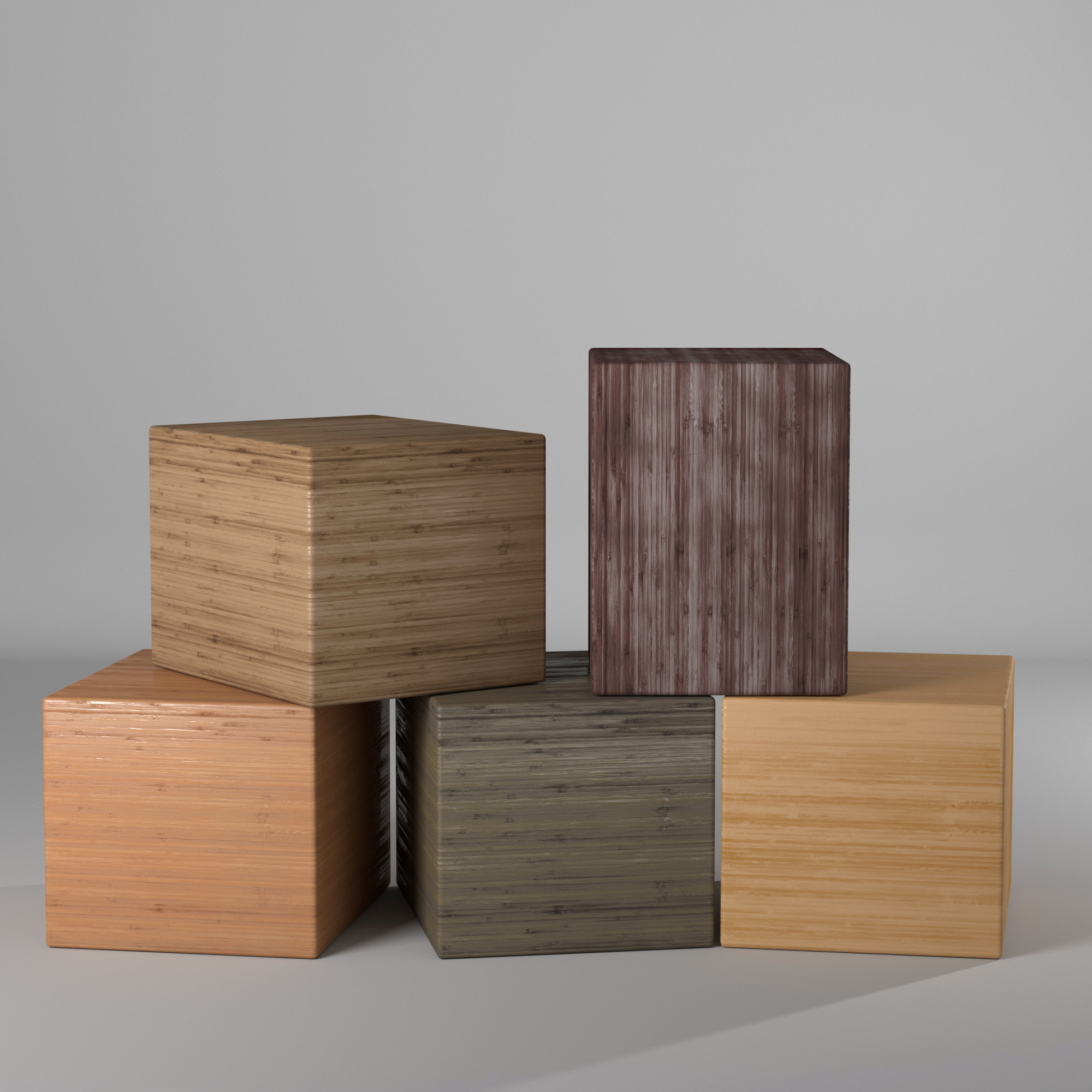 Variations of a single wood bitmap using gradient ramp and vray materials