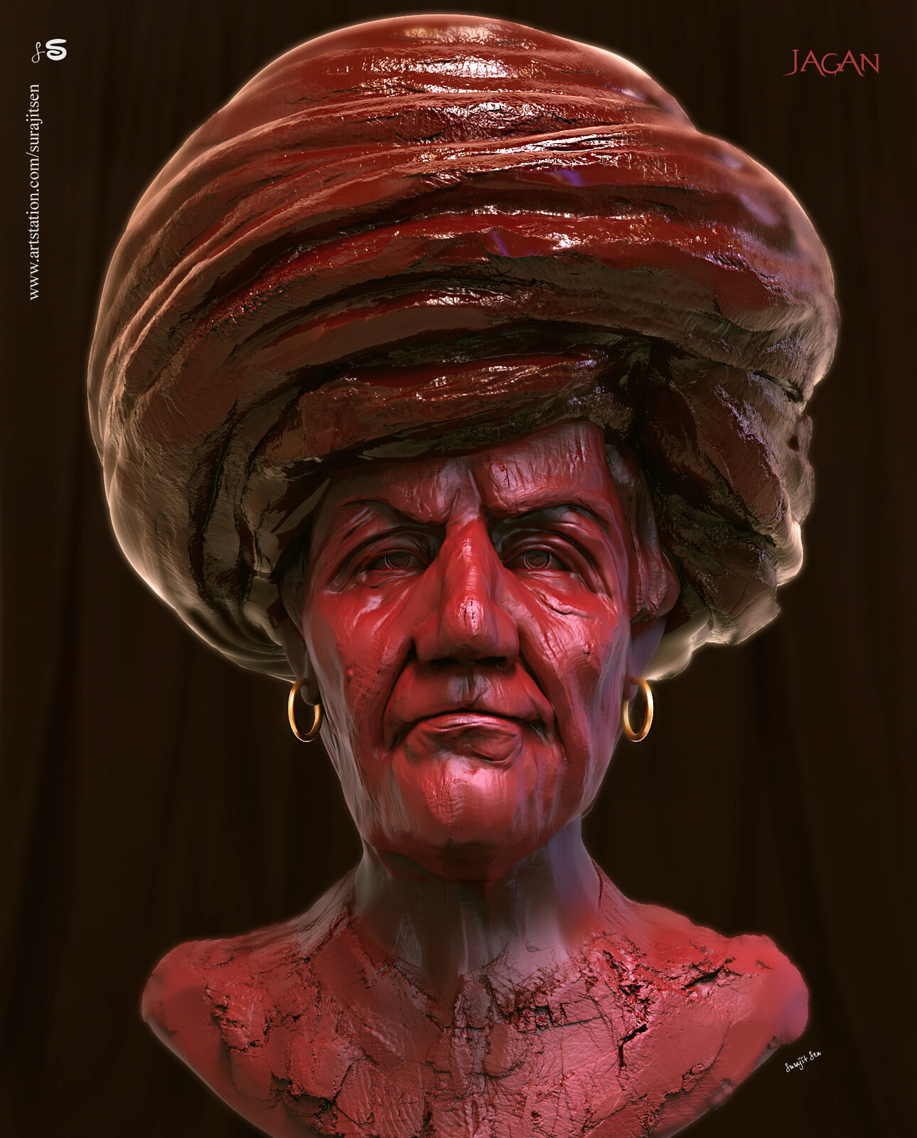 My free time speed Digital Sculpture.  Jagan.  Played with brushes.  Tried to make a form of my thoughts.