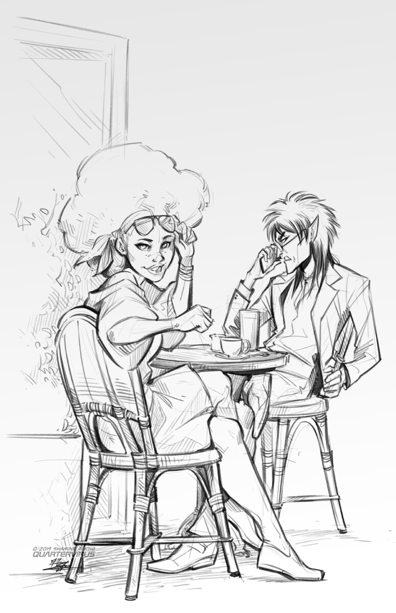 MoonlitAlien noted some time ago that with all the Good Omens going around, it would be the ideal setting for new angel and demon OCs.  Well, I see your proposition and I'll raise you one better: how about a Good Omens!Laz'wari AU instead?