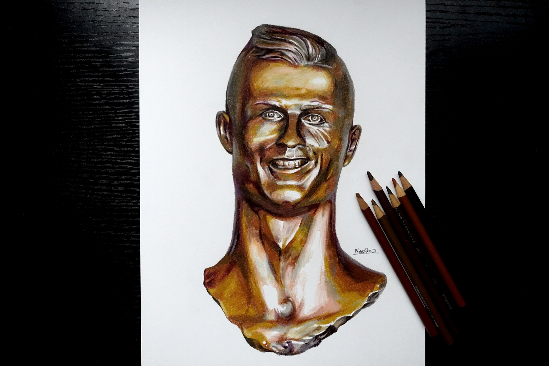 Jayugrim Freedraw Colored Pencil Drawing Cristiano Ronaldo Statue