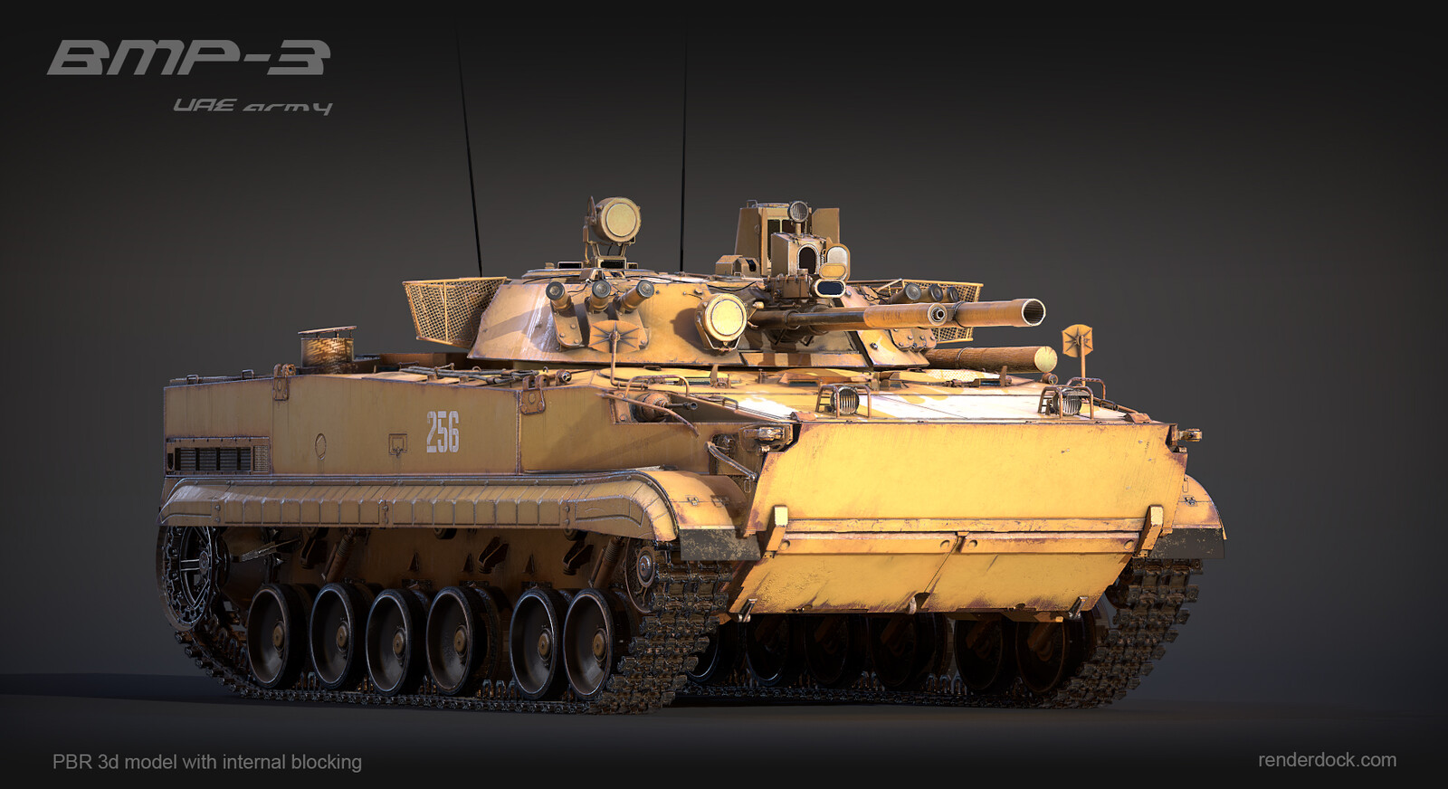 Precise PBR model of infantry fighting vehicle initially created for army interactive manual.